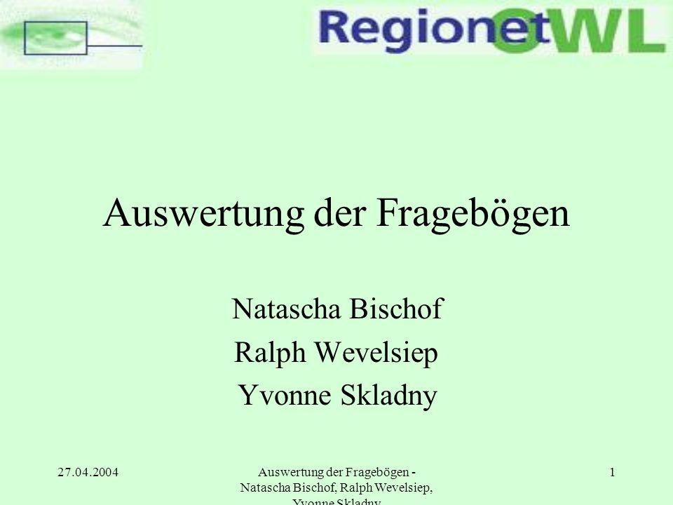 27.04.2004Auswertung der Fragebögen - Natascha Bischof, Ralph Wevelsiep, Yvonne Skladny 22 Präsentation der Ergebnisse 6.