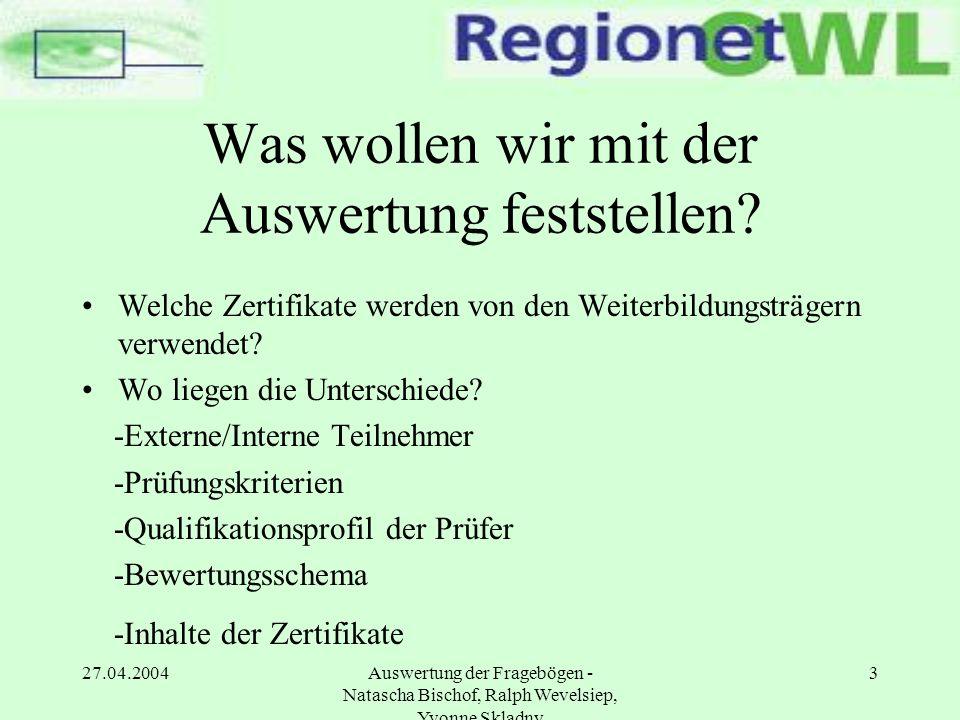 27.04.2004Auswertung der Fragebögen - Natascha Bischof, Ralph Wevelsiep, Yvonne Skladny 14 Präsentation der Ergebnisse 3.