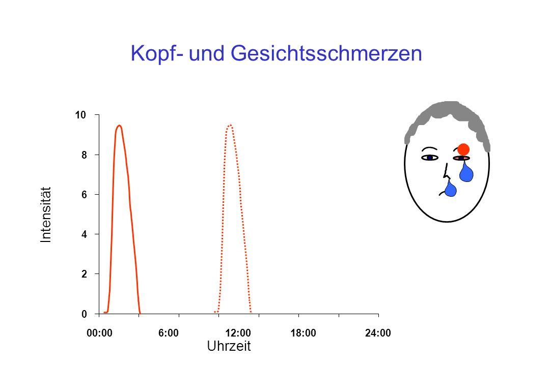 Kopf- und Gesichtsschmerzen 0 2 4 6 8 10 00:006:0012:0018:0024:00 Uhrzeit Intensität