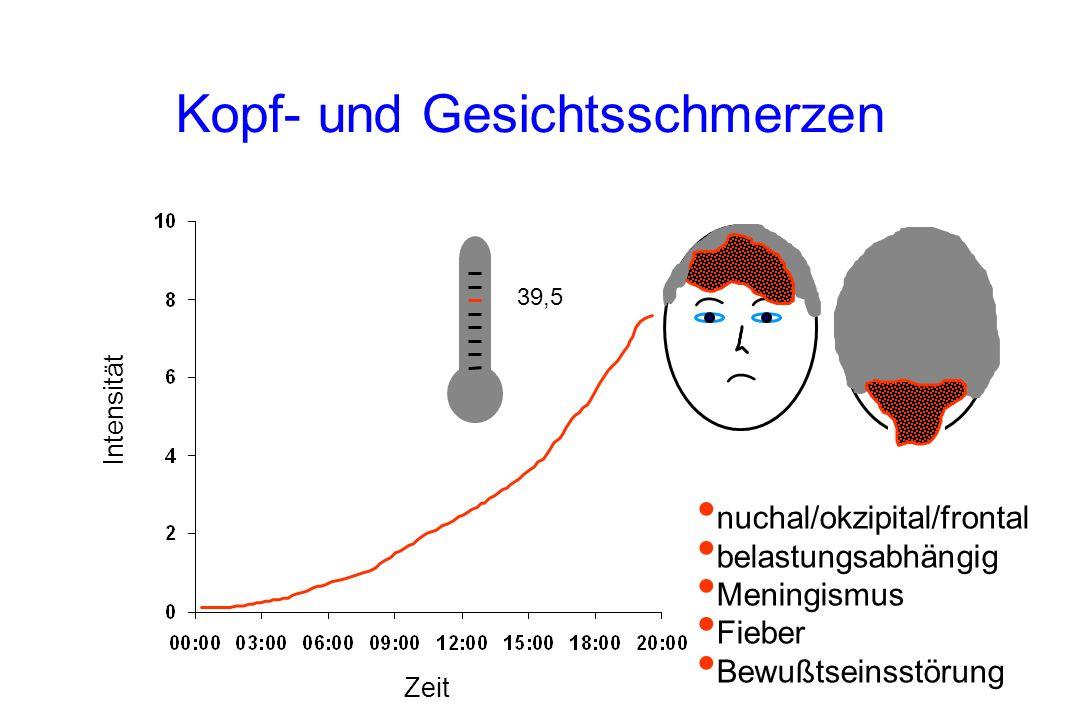 39.5°C Kopf- und Gesichtsschmerzen Intensität Zeit nuchal/okzipital/frontal belastungsabhängig Meningismus Fieber Bewußtseinsstörung 39,5