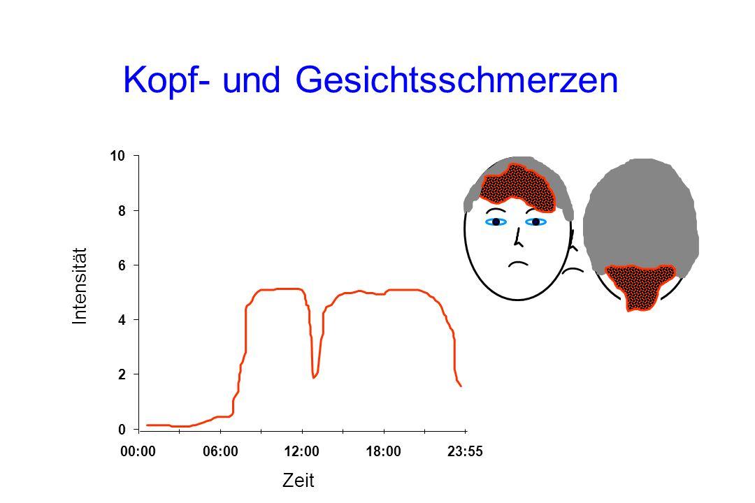 Kopf- und Gesichtsschmerzen Intensität Zeit 0 2 4 6 8 10 00:0006:0012:0018:0023:55