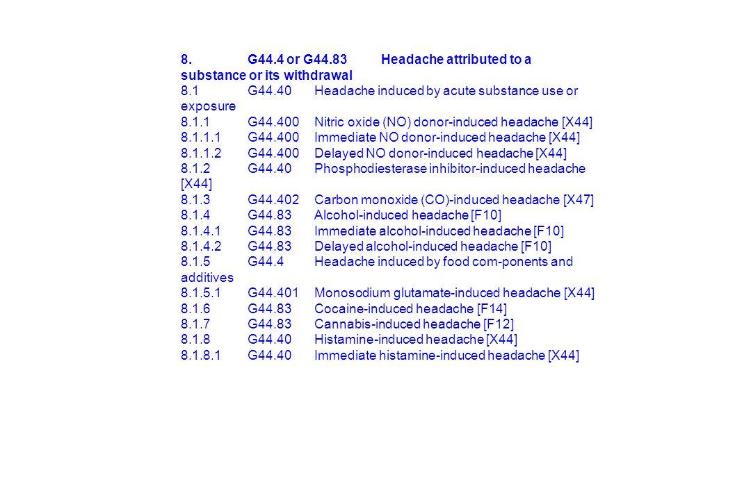1.Migräne 2.Spannungskopfschmerz 3.Cluster-Kopfschmerz 4.Andere primäre KS 5.Trauma 6.Vaskulär 7.Nicht vaskulär 8.Substanzen 9.Infektionen 10.Homeostase 11.Hals, Nasen, Ohren, Augen, Zähne etc 12.Psychiatrische Erkrankungen 13.Neuralgien 14.Andere IHS - Klassifikation