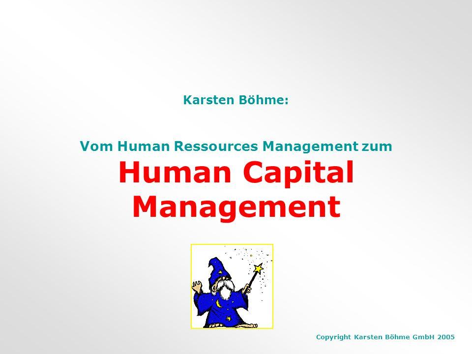 Copyright Karsten Böhme GmbH 2005 Faktoren, die Werte schaffen Differenzierung des Unternehmenswertes Führungsqualität (Systeme, Innovationsfähigkeit, Zuverlässigkeit) Brand Management Unternehmenskultur (glaubhaft vorgelebt) Attraktivität für Talente Das sind Organisationale Fähigkeiten