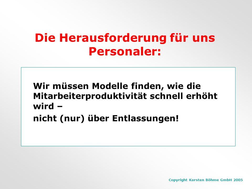 Copyright Karsten Böhme GmbH 2005 Personalabbau? Firmen, die Personal abbauen sind finanziell nicht erfolgreicher als andere. (Untersuchung von Standa