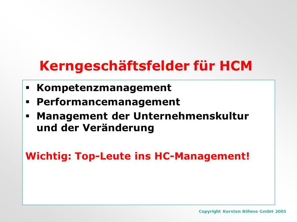 Copyright Karsten Böhme GmbH 2005 6 Key HCM- Capabilities Leadership Depth Stakeholder Engagement Adaptive Organisation Ability to Change Human capita