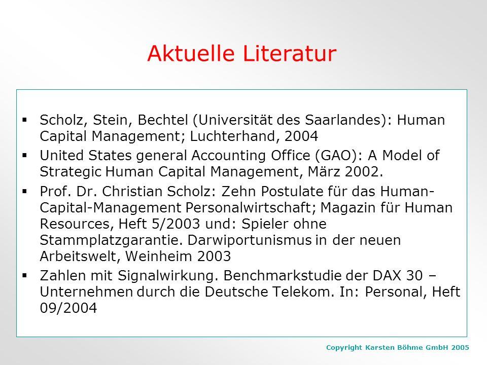 Copyright Karsten Böhme GmbH 2005 Wertsteigerung geschieht nicht durch Personalabbau, sondern ist Ausdruck des quantitativen und qualitativen Humankap