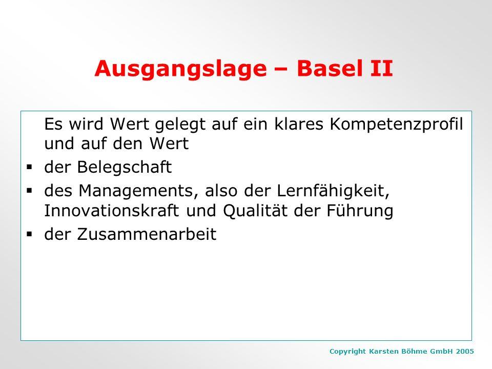 Copyright Karsten Böhme GmbH 2005 Ausgangslage – Basel II Es wird Wert gelegt auf ein klares Kompetenzprofil und auf den Wert der Belegschaft des Managements, also der Lernfähigkeit, Innovationskraft und Qualität der Führung der Zusammenarbeit