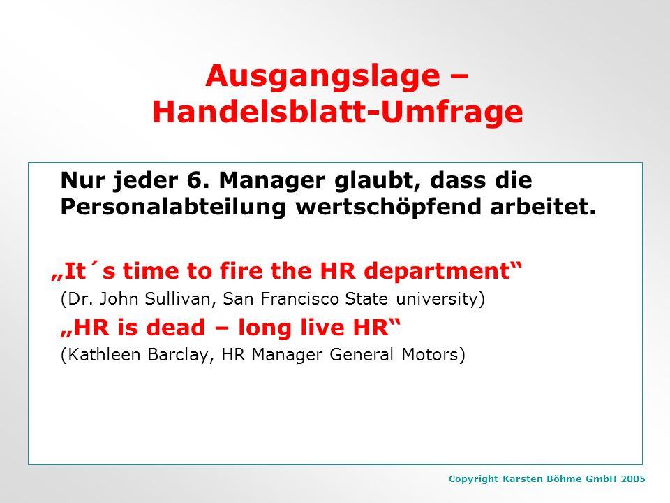 Copyright Karsten Böhme GmbH 2005 Ausgangslage – Gallup-Studie 2003 9 von 10 Arbeitnehmern haben in Deutschland keine echte Verpflichtung gegenüber ih