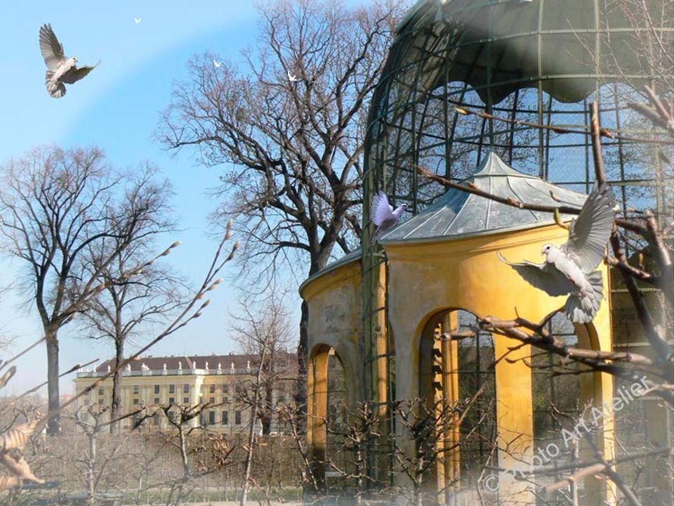 Taubenhaus Das Taubenhaus wurde bereits um 1750 errichtet. Es ist eine hohe runde Voliere aus Drahtgitter, den oberen Abschluss bildet ein kupfernes k