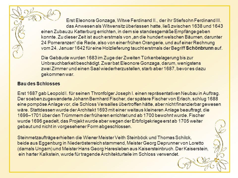 Die Khattermühle 1311 Katter- oder Gatterburg 1548 Katterburg und Gonzaga-Schloss 1672 Im Hintergrund der noch bewaldete Gloriette-Hügel Entwurf 2/ Fi