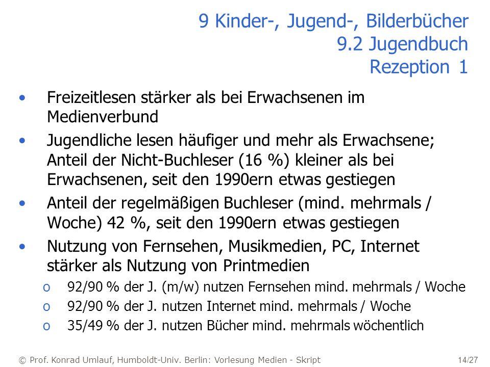 © Prof. Konrad Umlauf, Humboldt-Univ. Berlin: Vorlesung Medien - Skript 14/27 9 Kinder-, Jugend-, Bilderbücher 9.2 Jugendbuch Rezeption 1 Freizeitlese