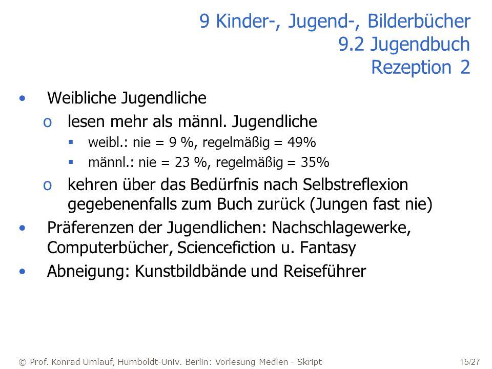 © Prof. Konrad Umlauf, Humboldt-Univ. Berlin: Vorlesung Medien - Skript 15/27 9 Kinder-, Jugend-, Bilderbücher 9.2 Jugendbuch Rezeption 2 Weibliche Ju