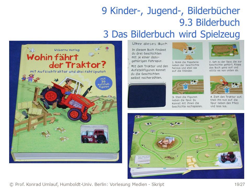 © Prof. Konrad Umlauf, Humboldt-Univ. Berlin: Vorlesung Medien - Skript 19/27 9 Kinder-, Jugend-, Bilderbücher 9.3 Bilderbuch 3 Das Bilderbuch wird Sp