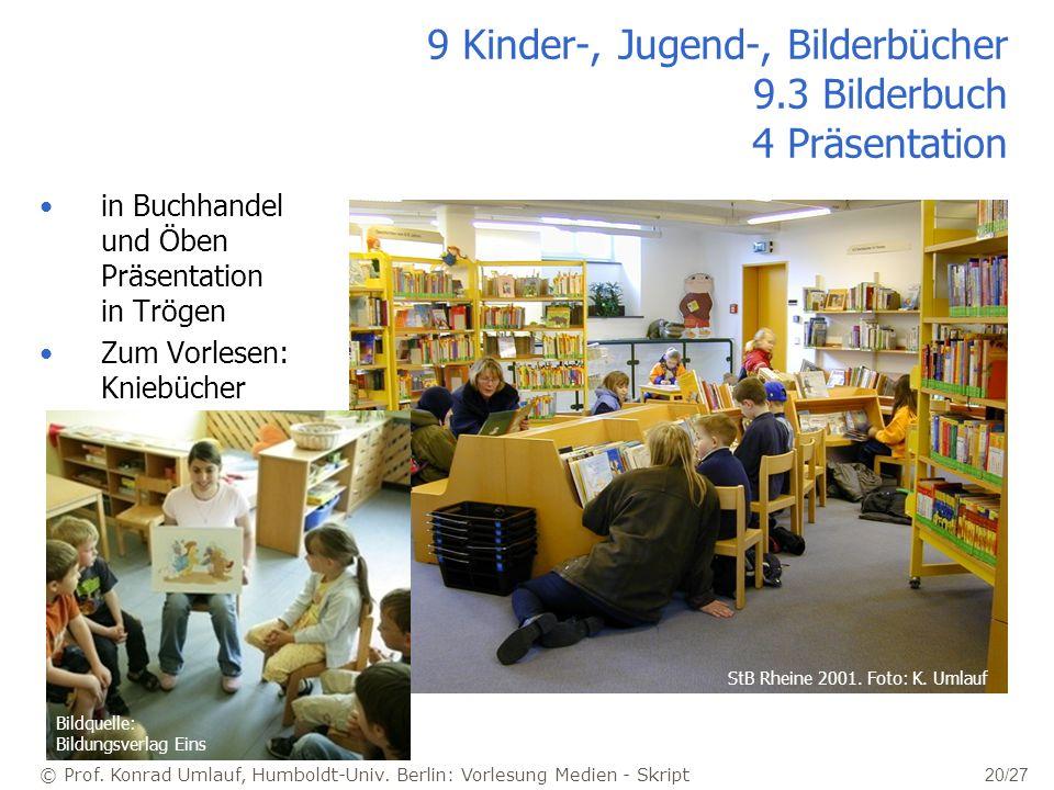 © Prof. Konrad Umlauf, Humboldt-Univ. Berlin: Vorlesung Medien - Skript 20/27 9 Kinder-, Jugend-, Bilderbücher 9.3 Bilderbuch 4 Präsentation in Buchha
