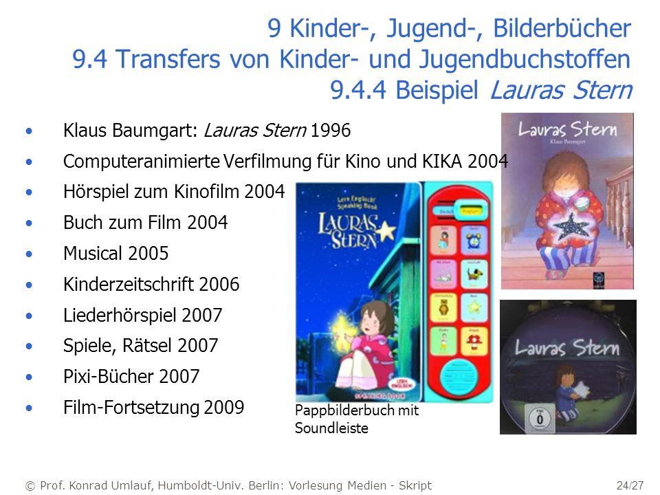 © Prof. Konrad Umlauf, Humboldt-Univ. Berlin: Vorlesung Medien - Skript 24/27 9 Kinder-, Jugend-, Bilderbücher 9.4 Transfers von Kinder- und Jugendbuc