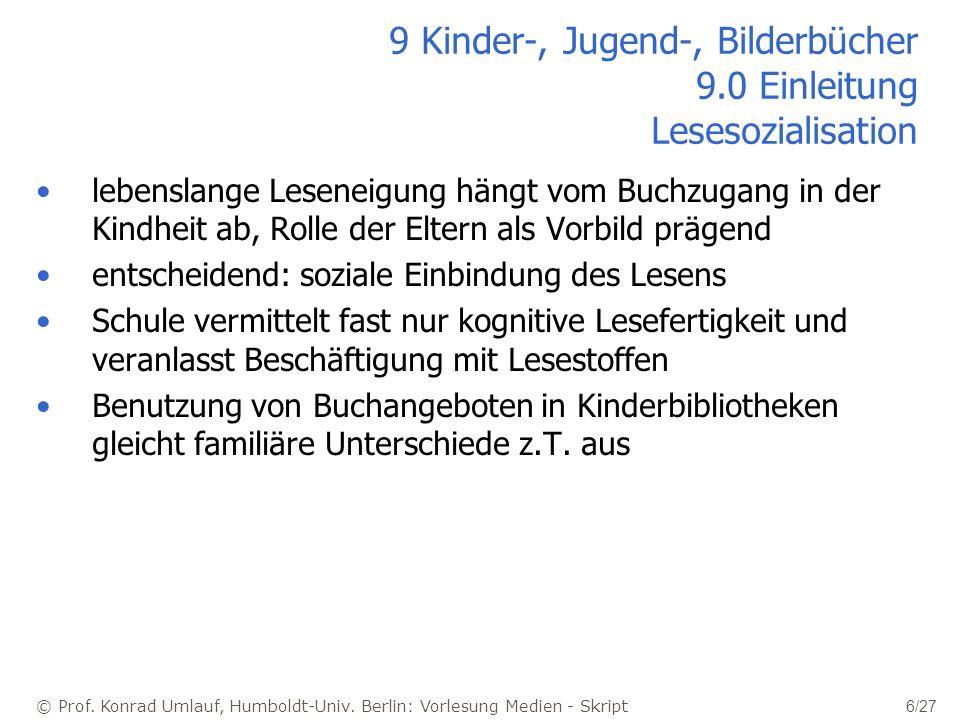 © Prof. Konrad Umlauf, Humboldt-Univ. Berlin: Vorlesung Medien - Skript 6/27 9 Kinder-, Jugend-, Bilderbücher 9.0 Einleitung Lesesozialisation lebensl