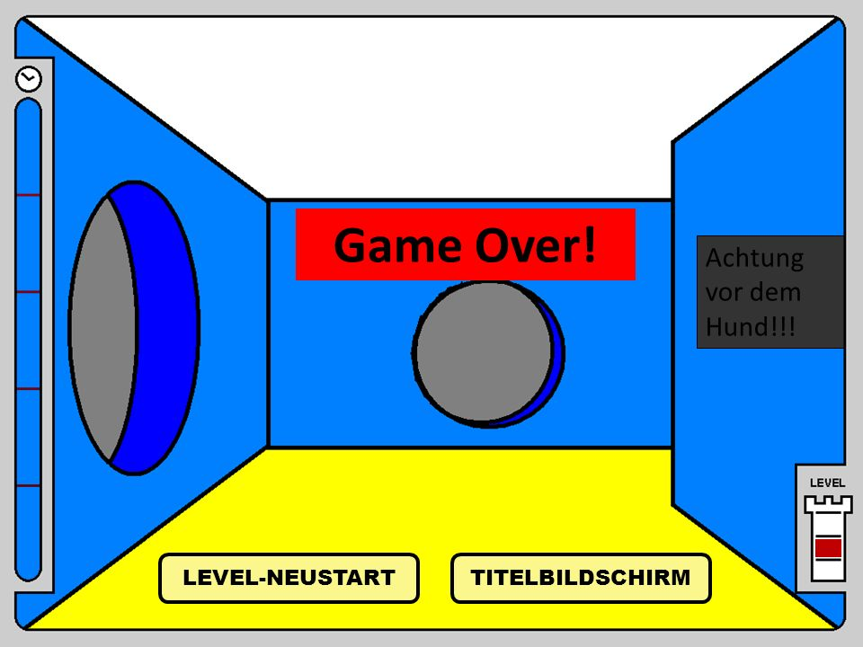 Achtung vor dem Hund!!! Game Over! TITELBILDSCHIRM LEVEL-NEUSTART