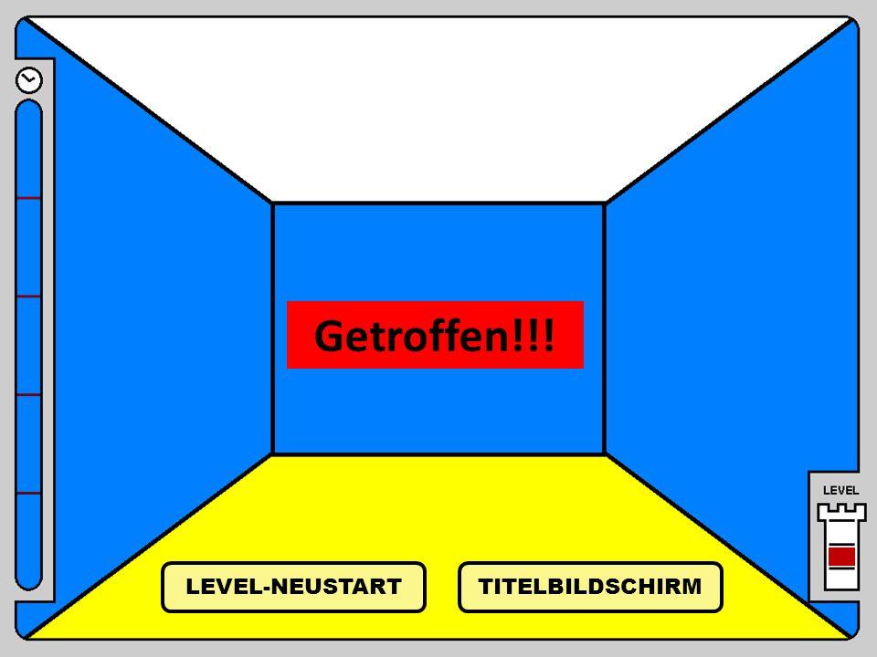Getroffen!!! TITELBILDSCHIRM LEVEL-NEUSTART