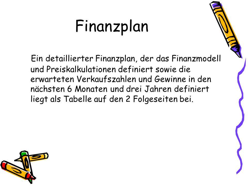 Finanzplan Ein detaillierter Finanzplan, der das Finanzmodell und Preiskalkulationen definiert sowie die erwarteten Verkaufszahlen und Gewinne in den nächsten 6 Monaten und drei Jahren definiert liegt als Tabelle auf den 2 Folgeseiten bei.