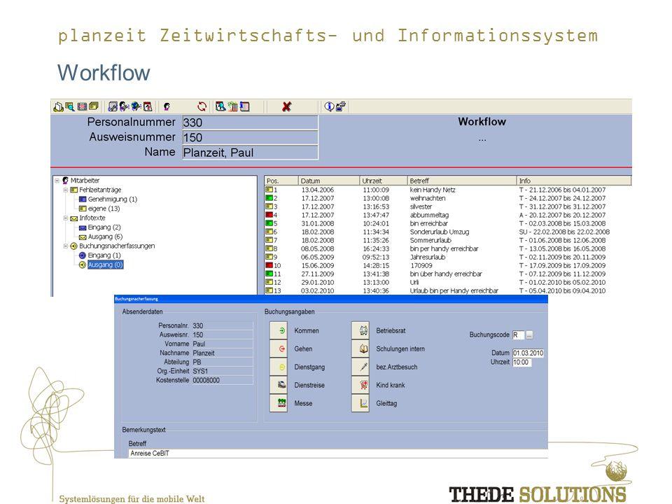 planzeit Zeitwirtschafts- und Informationssystem Workflow