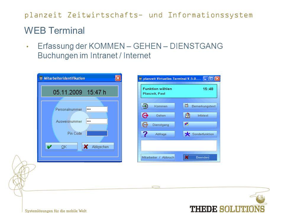 planzeit Zeitwirtschafts- und Informationssystem WEB Terminal Erfassung der KOMMEN – GEHEN – DIENSTGANG Buchungen im Intranet / Internet
