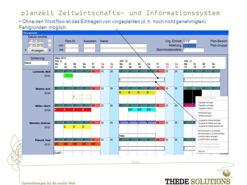 planzeit Zeitwirtschafts- und Informationssystem Ohne den Workflow ist das Eintragen von vorgeplanten (d.