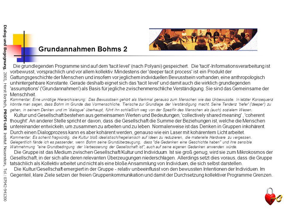 Dialog und Begegnung, 2003, Horst Bertsch, PROFI-LER Institut Neuenstein, Tel.: 07942-941200 Grundannahmen Bohms 1 Die menschliche Wahrnehmung und Kom