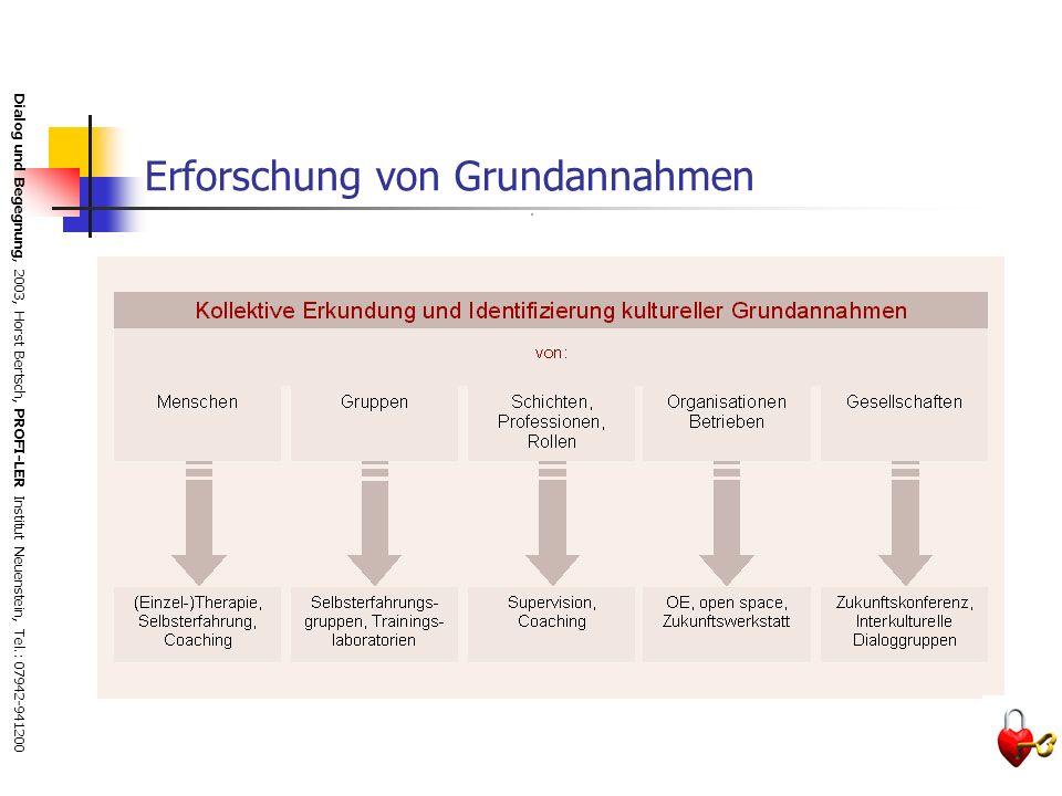 Dialog und Begegnung, 2003, Horst Bertsch, PROFI-LER Institut Neuenstein, Tel.: 07942-941200 Setting und Phasen des Dialogs Der historische Gruppenpro