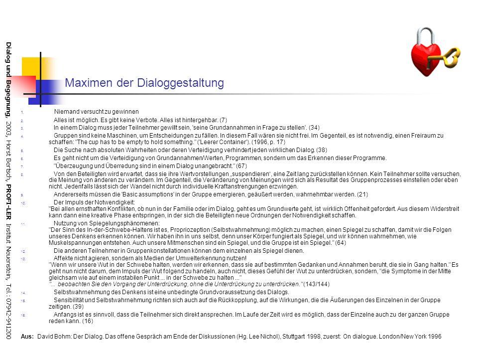 Dialog und Begegnung, 2003, Horst Bertsch, PROFI-LER Institut Neuenstein, Tel.: 07942-941200 Glaubenssätze über Kommunikation in der Buch- vs. Dialogk