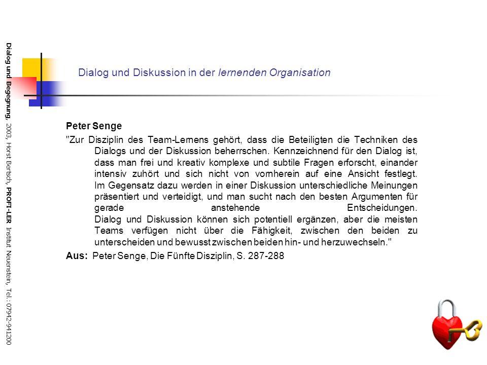 Dialog und Begegnung, 2003, Horst Bertsch, PROFI-LER Institut Neuenstein, Tel.: 07942-941200 Leistungen des Dialogs für Betriebe und Organisationsentw