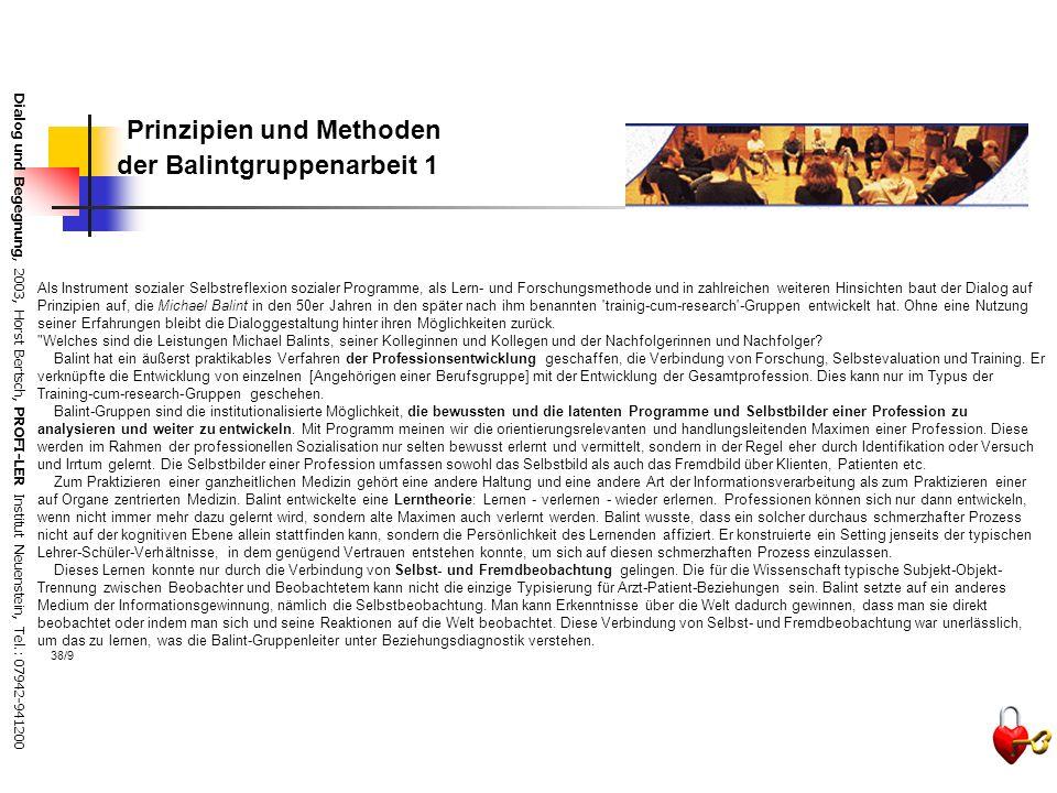 Dialog und Begegnung, 2003, Horst Bertsch, PROFI-LER Institut Neuenstein, Tel.: 07942-941200 Die Aufgaben des Dialogbegleiters