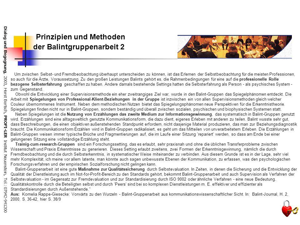 Dialog und Begegnung, 2003, Horst Bertsch, PROFI-LER Institut Neuenstein, Tel.: 07942-941200 Prinzipien und Methoden der Balintgruppenarbeit 1 Als Ins