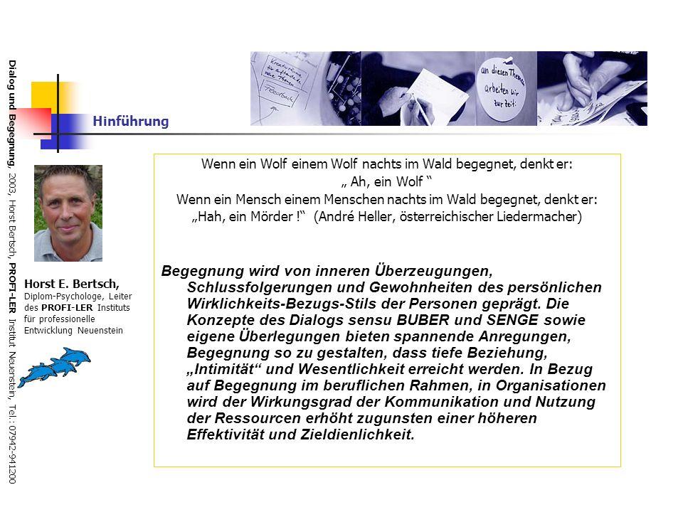 Dialog und Begegnung, 2003, Horst Bertsch, PROFI-LER Institut Neuenstein, Tel.: 07942-941200 Dialog und Diskussion in der lernenden Organisation Peter Senge Zur Disziplin des Team-Lernens gehört, dass die Beteiligten die Techniken des Dialogs und der Diskussion beherrschen.