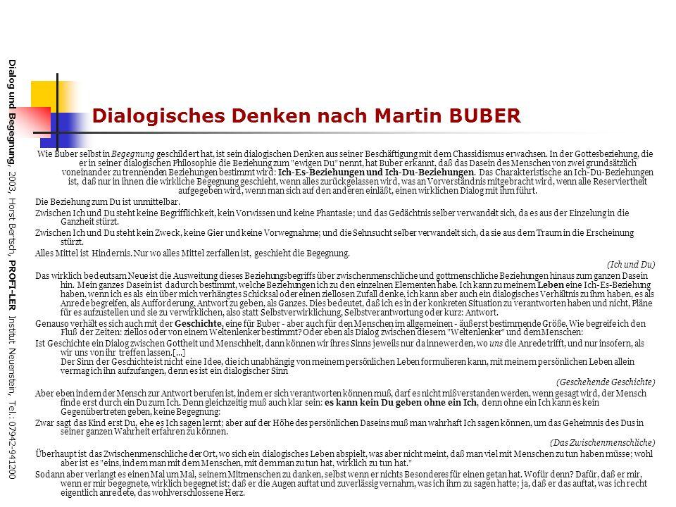 Dialog und Begegnung, 2003, Horst Bertsch, PROFI-LER Institut Neuenstein, Tel.: 07942-941200 Dialogisches Denken nach Martin BUBER Wie Buber selbst in Begegnung geschildert hat, ist sein dialogischen Denken aus seiner Beschäftigung mit dem Chassidismus erwachsen.