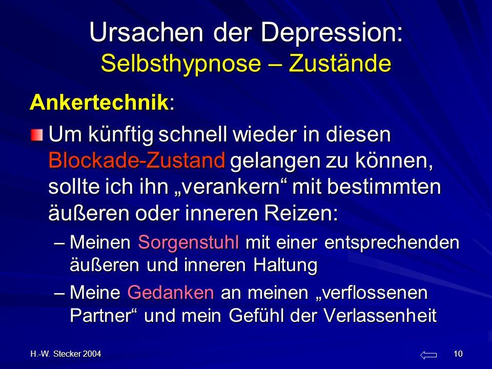 H.-W. Stecker 2004 10 Ursachen der Depression: Selbsthypnose – Zustände Ankertechnik: Um künftig schnell wieder in diesen Blockade-Zustand gelangen zu