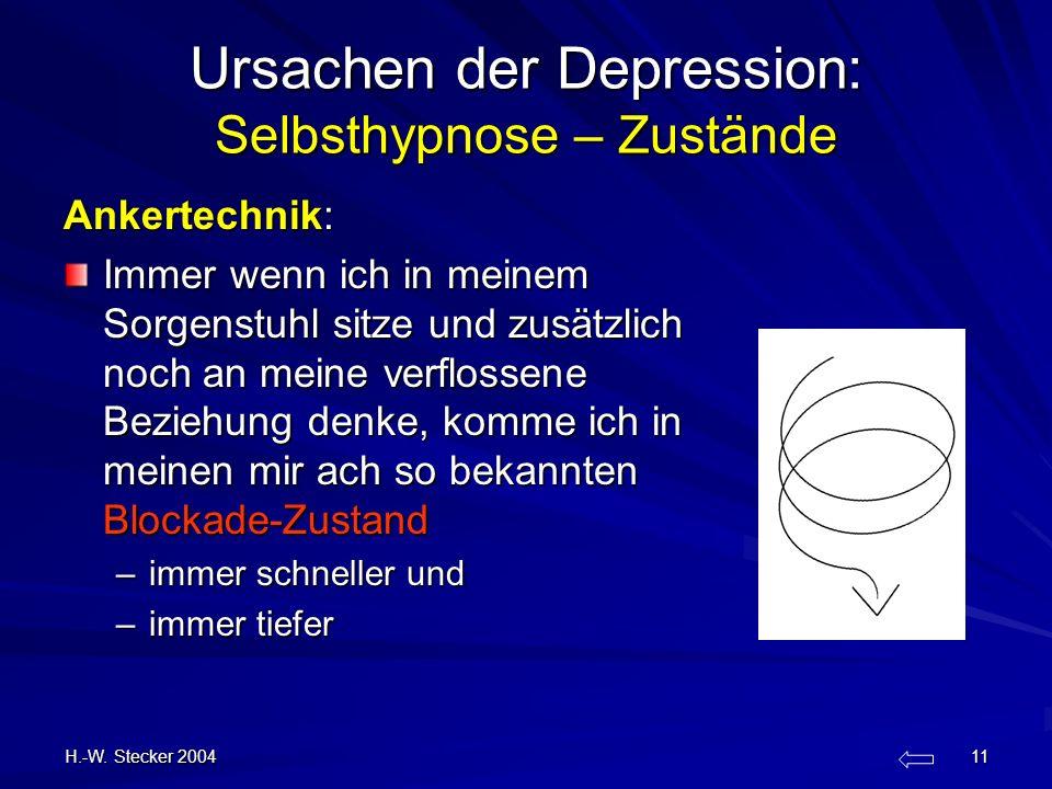 H.-W. Stecker 2004 11 Ursachen der Depression: Selbsthypnose – Zustände Ankertechnik: Immer wenn ich in meinem Sorgenstuhl sitze und zusätzlich noch a