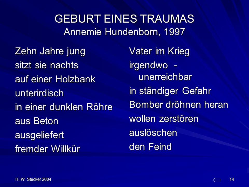 H.-W. Stecker 2004 14 GEBURT EINES TRAUMAS Annemie Hundenborn, 1997 Zehn Jahre jung sitzt sie nachts auf einer Holzbank unterirdisch in einer dunklen