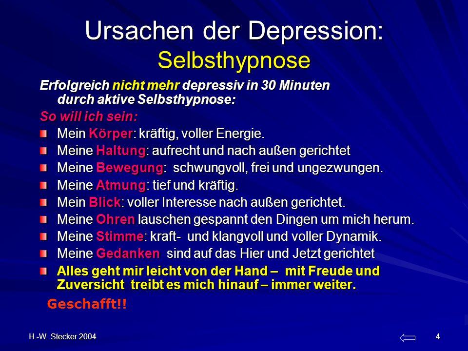 H.-W. Stecker 2004 4 Ursachen der Depression: Selbsthypnose Erfolgreich nicht mehr depressiv in 30 Minuten durch aktive Selbsthypnose: So will ich sei