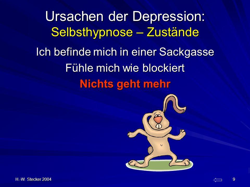 H.-W. Stecker 2004 9 Ursachen der Depression: Selbsthypnose – Zustände Ich befinde mich in einer Sackgasse Fühle mich wie blockiert Nichts geht mehr