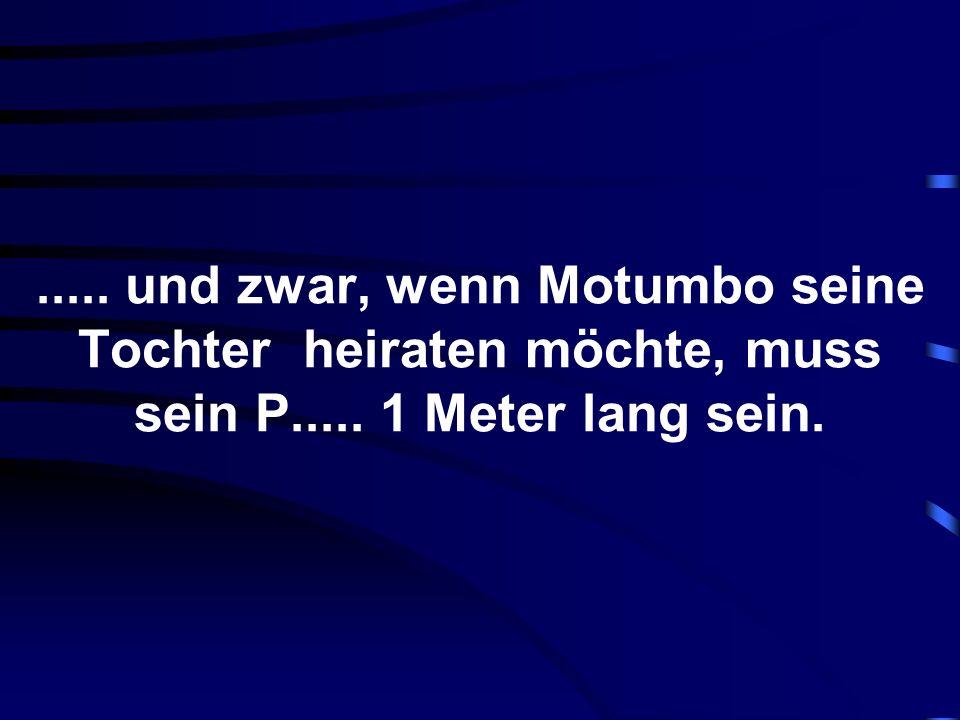 ..... und zwar, wenn Motumbo seine Tochter heiraten möchte, muss sein P..... 1 Meter lang sein.