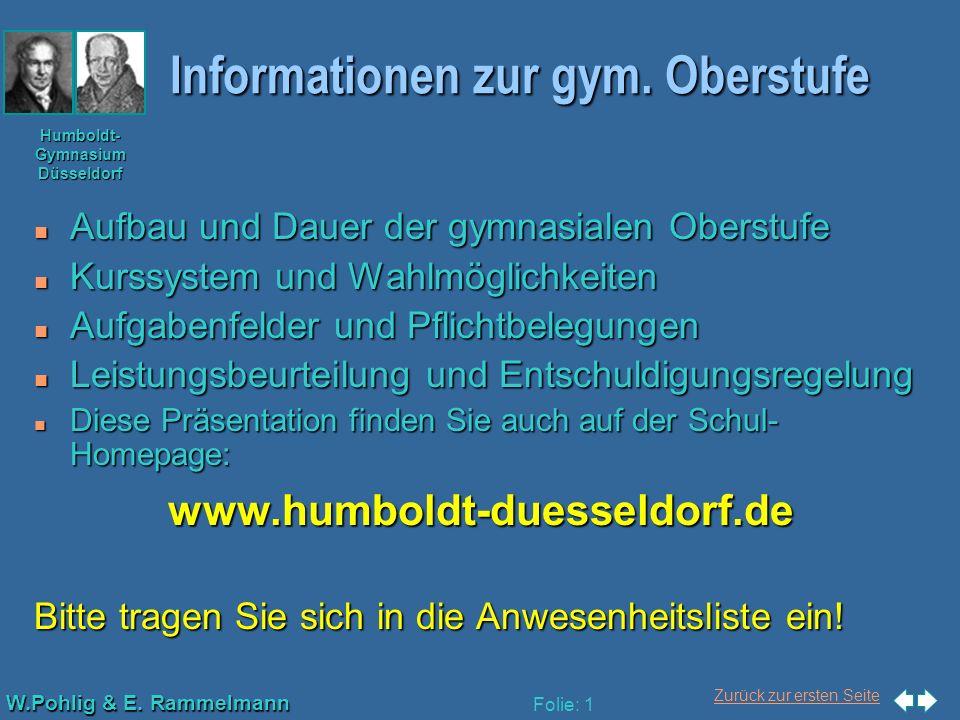 Zurück zur ersten Seite W.Pohlig & E. Rammelmann Humboldt- Gymnasium Düsseldorf Folie: 1 Informationen zur gym. Oberstufe n Aufbau und Dauer der gymna