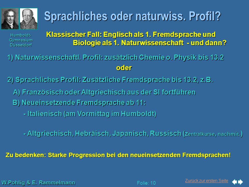 Zurück zur ersten Seite W.Pohlig & E. Rammelmann Humboldt- Gymnasium Düsseldorf Folie: 10 Sprachliches oder naturwiss. Profil? Klassischer Fall: Engli
