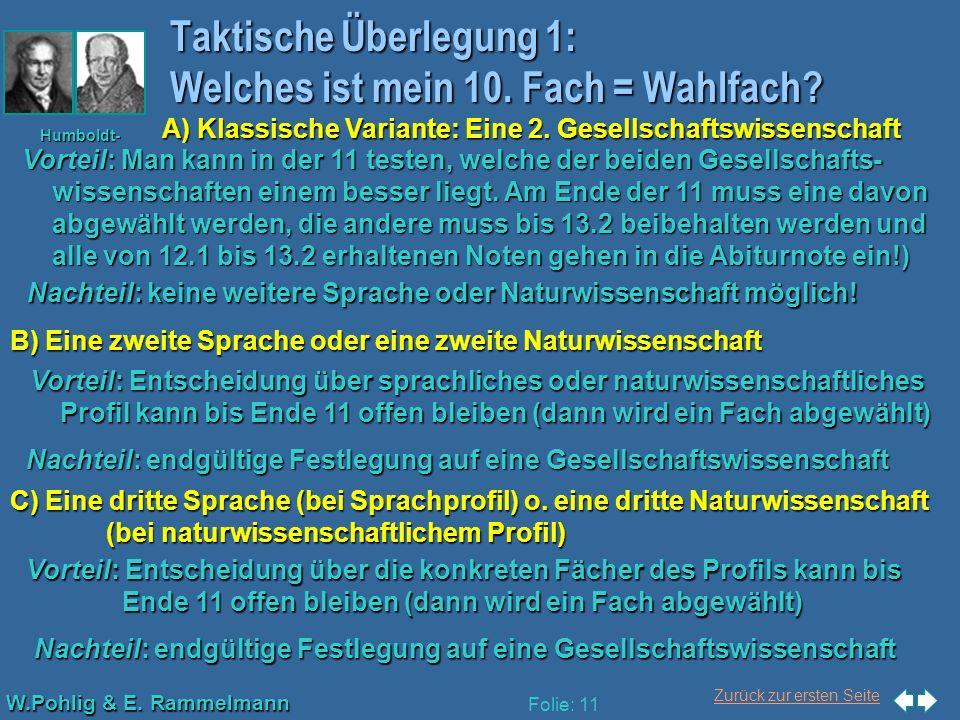 Zurück zur ersten Seite W.Pohlig & E. Rammelmann Humboldt- Gymnasium Düsseldorf Folie: 11 Taktische Überlegung 1: Welches ist mein 10. Fach = Wahlfach