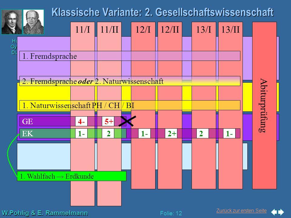 Zurück zur ersten Seite W.Pohlig & E. Rammelmann Humboldt- Gymnasium Düsseldorf Folie: 12 Klassische Variante: 2. Gesellschaftswissenschaft Abiturprüf