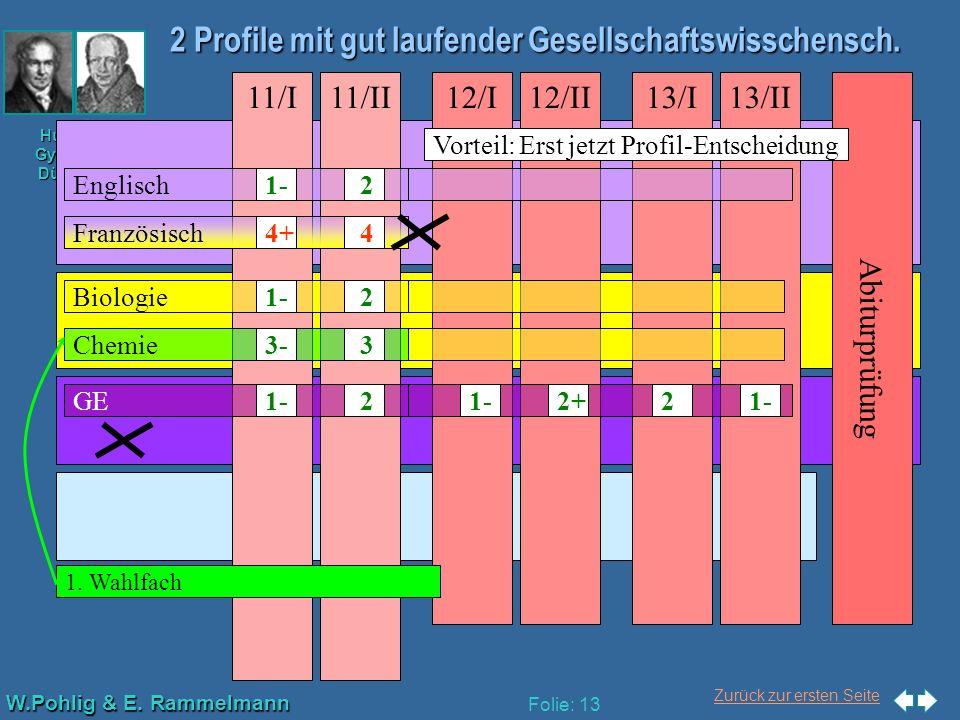 Zurück zur ersten Seite W.Pohlig & E. Rammelmann Humboldt- Gymnasium Düsseldorf Folie: 13 2 Profile mit gut laufender Gesellschaftswisschensch. Abitur