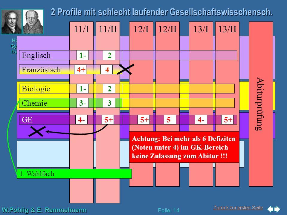 Zurück zur ersten Seite W.Pohlig & E. Rammelmann Humboldt- Gymnasium Düsseldorf Folie: 14 2 Profile mit schlecht laufender Gesellschaftswisschensch. A