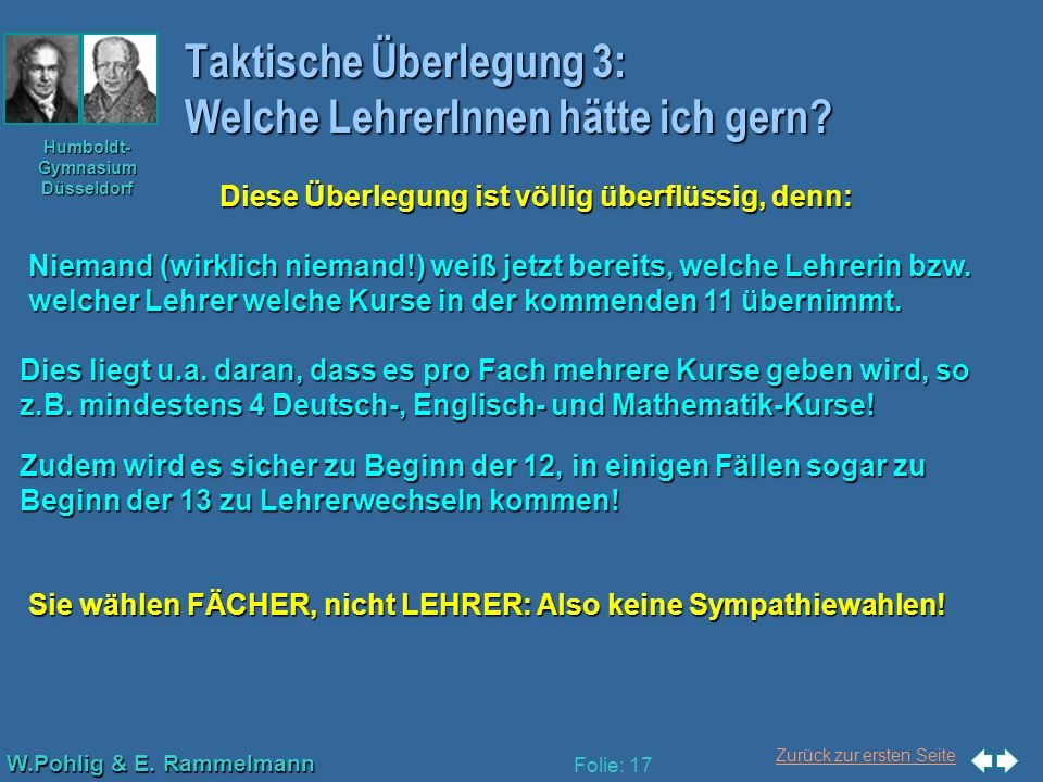 Zurück zur ersten Seite W.Pohlig & E. Rammelmann Humboldt- Gymnasium Düsseldorf Folie: 17 Taktische Überlegung 3: Welche LehrerInnen hätte ich gern? D