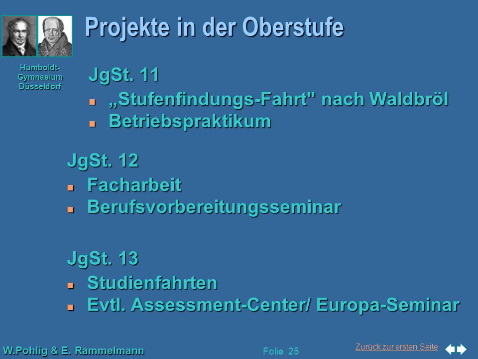Zurück zur ersten Seite W.Pohlig & E. Rammelmann Humboldt- Gymnasium Düsseldorf Folie: 25 Projekte in der Oberstufe JgSt. 11 n Stufenfindungs-Fahrt