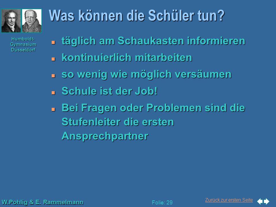 Zurück zur ersten Seite W.Pohlig & E. Rammelmann Humboldt- Gymnasium Düsseldorf Folie: 29 Was können die Schüler tun? n täglich am Schaukasten informi
