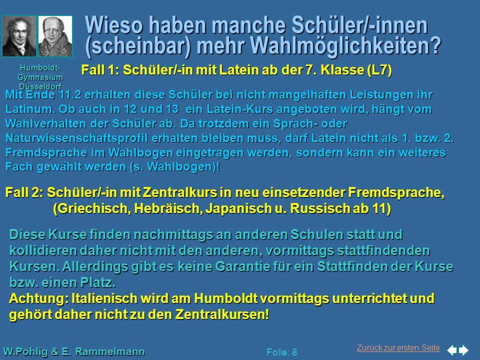Zurück zur ersten Seite W.Pohlig & E. Rammelmann Humboldt- Gymnasium Düsseldorf Folie: 8 Wieso haben manche Schüler/-innen (scheinbar) mehr Wahlmöglic